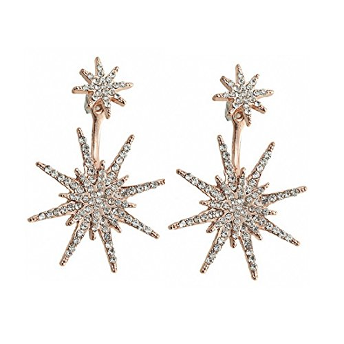 Rose Gold Stud Earrings for Women Star Dangle Costume Fashion Wedding Jewelry H1254R]()