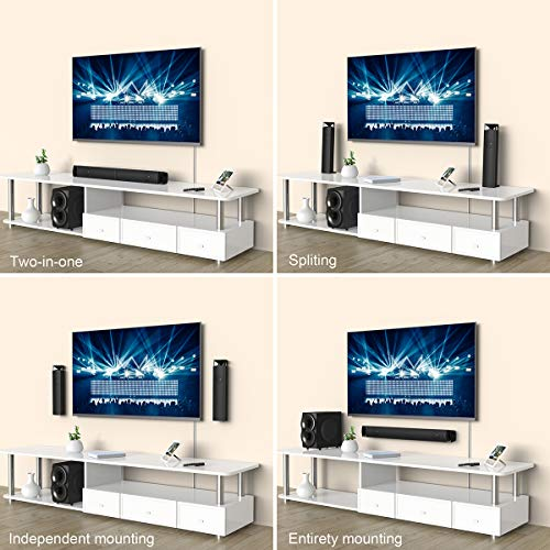 dodocool Sound Bar, 2.1 Channel Soundbar System with Wired and Wireless Subwoofer, LED Display, USB/SD Reader, FM Radio, Remote Control for TV/Phone/PC