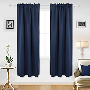 Deconovo Navy Blue Blackout Curtains Rod Pocket Room Darkening Curtain Panels For Living 42W X