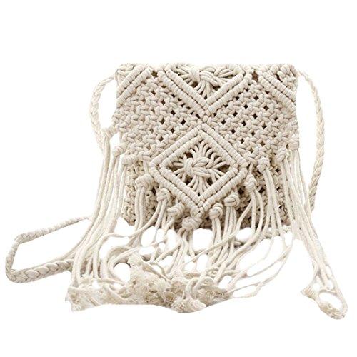SODIAL Fringe Tassel Crossbody bandolera tejida a mano Boho Beach Travel bolso para mujer,marron Blanco