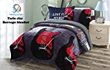 Fancy Collection 2 pc Twin Size Charcoal/Dark Grey Black Red yellow Guitar Music Instruments Blanket Sumptuously Soft Plush with Sherpa Winter Blankets Bedspread Super Soft (Guitar)