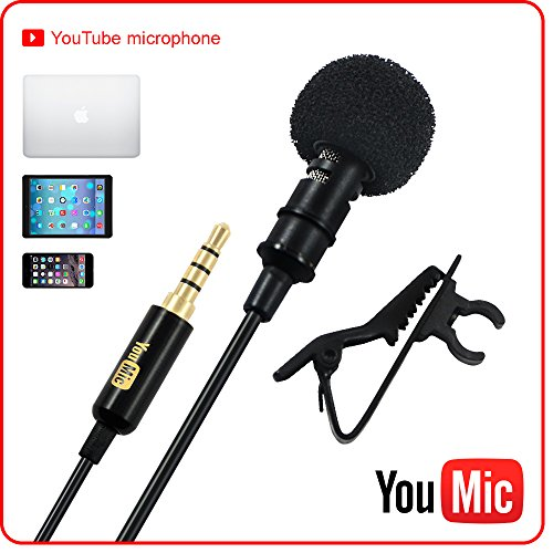 Lavalier Lapel Microphone with Easy Clip On System | Perfect for Professional Recording Youtube Vlog Interview / Podcast | External Omnidirectional Mic for iPhone iPad iPod Android Mac PC