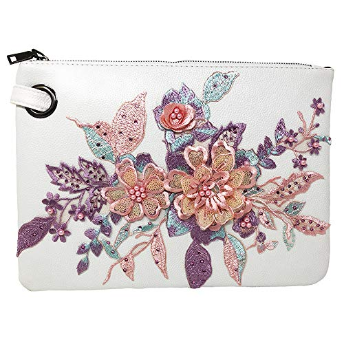 Embroidered Clutch Leather - Zinspire Hand-Embroidered Applique Clutch Evening Large Handbag PU Leather