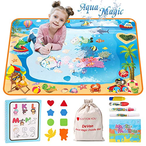Aquadoodle Mat - Water Drawing Mat Aqua Magic Doodle Mat for Kids-Color Large Size Educational Learning Toys Gifts for Age 2 3 4 5 6 Year Old Girls Boys Toddler