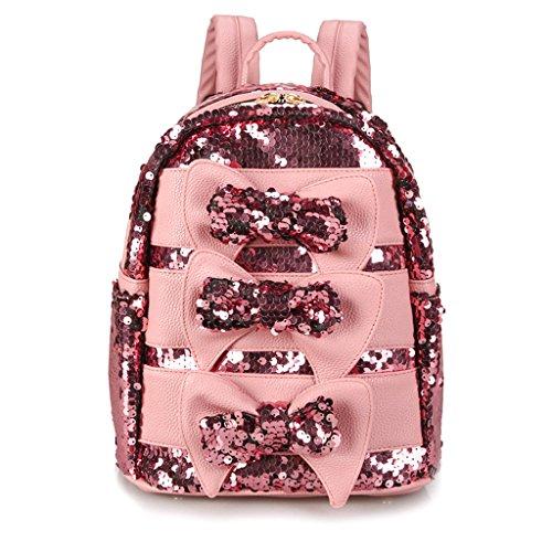Womens approx Sequined Lamdoo Black Backpack Pink 21x13x28cm Silver fOAqgUnx