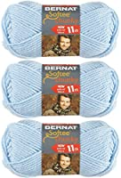 Bernat Softee Chunky Solid Yarn, Super Bulky #6, 3 Skeins Baby Blue 28127