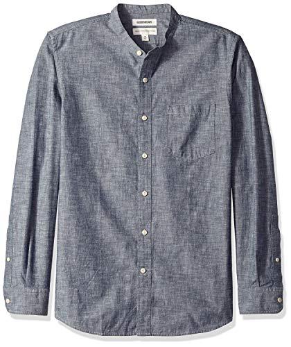 Goodthreads Men's Standard-Fit Long-Sleeve Band-Collar Chambray Shirt, -navy, Large (Collar Band Shirt)