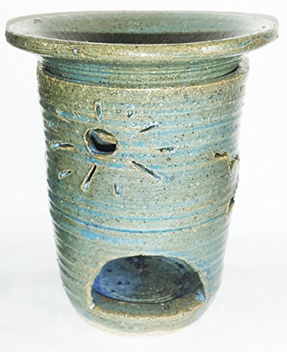 Aunt Chris' Pottery - Hand Made Clay - Tart Burner - Light Blue - Fragrance Oil or Fragrance Wax Warmer - Primitive Design - Accented With Seagull Cut Outs - Lets The Light Shine Through