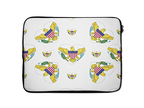 Us Virgin Islands Country Flag Hearts Laptop Ipad Sleeve Case Bag - 13 Inch - Country Style Computer