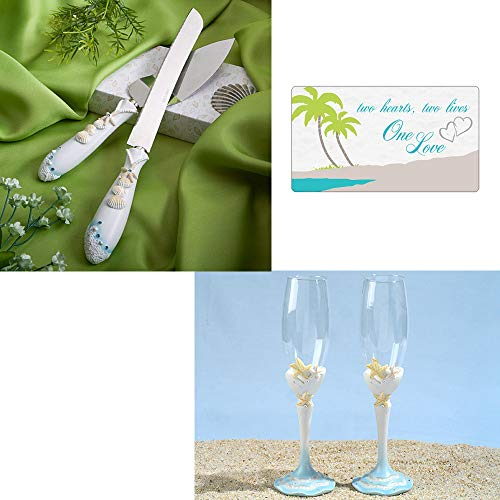 Wedding Cake Knife and Server Set with Bride and Groom Champagne Glasses Toasting Flutes, Wedding Champagne Flutes Cake Serving Set Beach Themed