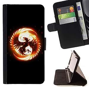 For Apple iPhone 5C Case , Flaming Phoenix- la tarjeta de Crédito Slots PU Funda de cuero Monedero caso cubierta de piel