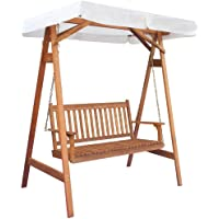 vidaXL Garden Swing Chair with Canopy Eucalyptus Acacia Wood Porch Seat Bench