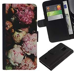 [Neutron-Star] Modelo colorido cuero de la carpeta del tirón del caso cubierta piel Holster Funda protecció Para Samsung Galaxy S5 Mini (Not S5), SM-G800 [Pink Blossoms Apertura Cerrado]