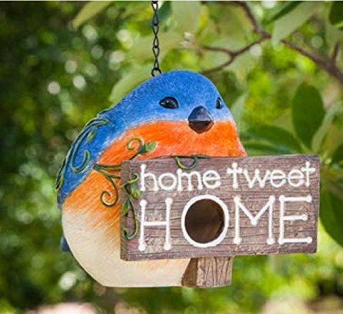 Hanging Bird Houses by CEDAR HOME Outdoor Garden Patio Decorative Pet Cottage Resin Birdhouses, (Evergreen Enterprises Birdhouse)