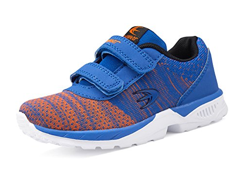 ALLY BELLY Boys Girl's Double Strap Comfortable Knit Sneakers Fashion Casual Walking Shoes for Toddler and Little Kid (9 M US Toddler, Blue/Orange)