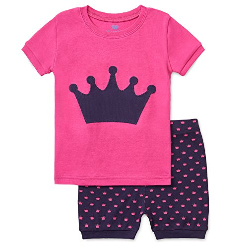 Bluenido Girls Unicorn and Crown Shorts 2 Piece Pajama 100% Soft Cotton