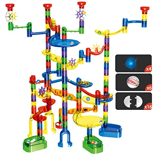 - Marble Run Set, Glonova 149 Pcs Marble Super Set for Kids 4+, (107 Translucent Marbulous Pieces+ 4 Light up Marbles+ 6 Glass Marbles+32 Pcs DIY Marbles)