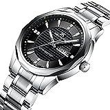 Mens Black Wrist Watches Men Waterproof Silver Stainless Steel Watches Day Date Calendar Tungsten Steel Watch