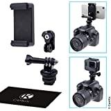 Hot Shoe Mount Adapter Kit - Attach your Phone or GoPro Hero to the Flash Mount of your DSLR Camera - Record your Photo Shoot or use Phone Apps for Lighting, Monitoring or Controlling