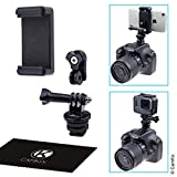 Hot Shoe Mount Adapter Kit - Attach your Phone or GoPro Hero to the Flash Mount of your DSLR Camera - Record your Photo Shoot or use Phone Apps for Lighting - Monitoring or Controlling