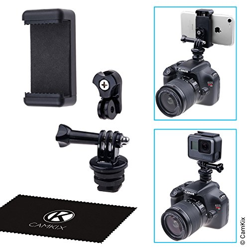 Hot Shoe Mount Adapter Kit - Attach your Phone or GoPro Hero to the Flash Mount of your DSLR Camera - Record your Photo Shoot or use Phone Apps for (Dslr Mount Adapter)