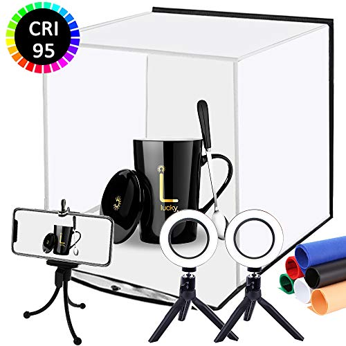 DUCLUS Foldable Photo Studio Box kit, Portable Photography Light Box with Dual Ring LED Light, Photo Studio Shooting Tent with White Light Warm Light and 6 Color Background, Size 12inch x 12inch
