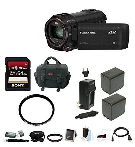 Panasonic HC-VX981K 4K Ultra HD Camcorder with Sony 64GB Memory Card & Focus Accessory Bundle -  Focus Camera, APANHCVX981K2