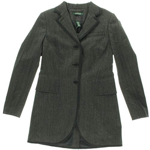 Lauren Ralph Lauren Womens Wool Heathered Jacket Black (Heathered Wool Jacket)