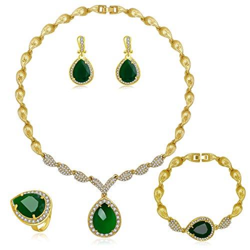 MOOCHI Women Gold Plated Green Cubic Zirconia CZ Crystal Jewelry Set Necklace Earrings Bracelet Ring