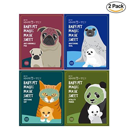 [Holika Holika] Baby Pet Magic Mask Sheet 22ml (2 Sheet) - 4 Type (8 Set) (Animal Face Mask)