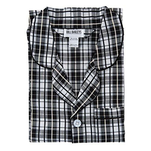 Bill Baileys Men's Long Woven Pajamas Set Button Front Down Long Sleeve Pajama (Medium T, Grey Plaid)
