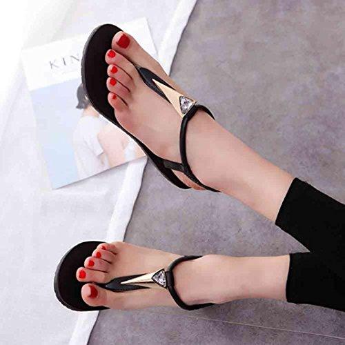 Plates Chaussures Outdoor Noir Femmes Sandales Chaussures Vovotrade Bohême élégantes Plage Toe Loisirs Peep Lady Diamants qtU4TBWTw