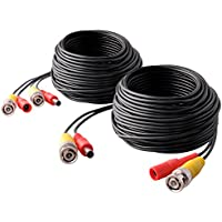 ISEEUSEE Pre-Made All-in-One 2-Pack 60ft Security Camera BNC Video Power Cable Wire Cord for CCTV DVR Surveillance System