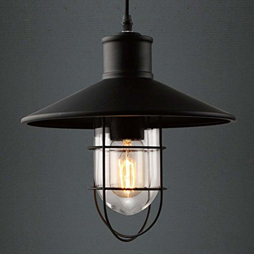 Industrial Cage Style Ceiling Light, SUN RUN Creative Bird Cage Retro Light Fixture Chandeliers Vintage Metal Pendant Lamp with Painted Finish for Dining Room Kitchen by SUN RUN