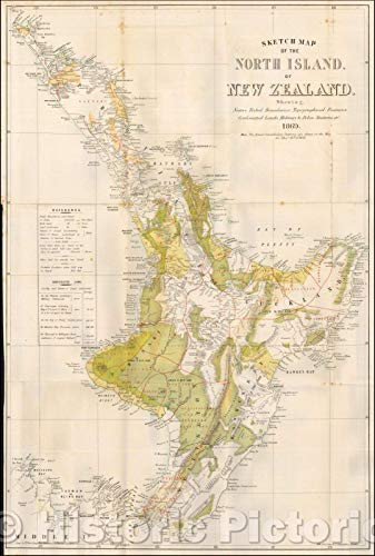 Historic Map | Sketch Map of the North Island of New Zealand. Shewing, Native Tribal Boundaries, Topographical Features, 1869, Mills, Dick, Lister & Co. | Vintage Wall Art 24in x 36in (Framed Map Of New Zealand)