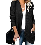Dokotoo Women's Casual Long Sleeve Open Front Lightweight Soft Solid Color Knit Cardigan Sweater ...