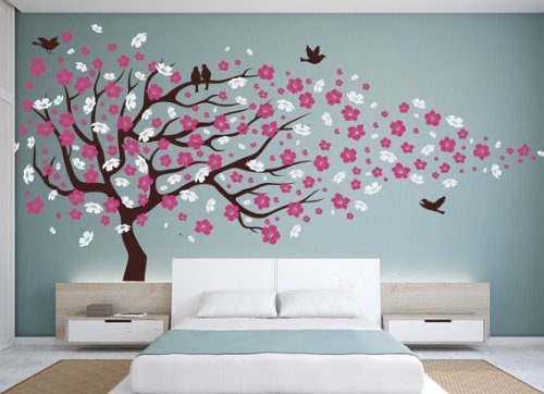 Nursery Vinyl Wall Decal Cherry Blossom Flower Tree Wall Decal Decals Child Wall Sticker Stickers Flowers Baby Girl Room Decor Children Kids ()
