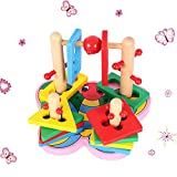 Sealive Cute Animals Toy Baby Kids Educational Wooden Toy Colorful Butterfly Building Blocks Geometry Pillars DIY Geometric Shape Puzzle Insect Toy Set(1pc,Pattern Sent in Random)