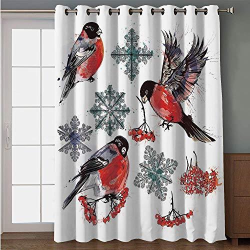 iPrint Blackout Patio Door Curtain,Rowan,Christmas Collection of Bullfinch Birds Snowflakes Rowan in Watercolor Style Decorative,Scarlet Grey Black,for Sliding & Patio Doors, 102