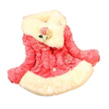 ZYZF Girls Kids Winter Warm Fleece Coat Jacket X-mas Flower Princess Outwear
