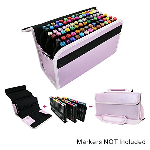 Find Bargain YOUSHARES Marker Storage Case Lipstick Organizer - 80 Slots Carrying PU Leather Storage...