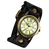 Lancardo Vintage Leather Bracelet Watch With Antique Brass Bronze Tone Bezel(Black)