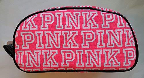Victoria's Secret PINK Double Zip Cosmetic Bag (Pink Logo) (Bag Secret Pink Victoria Cosmetic)