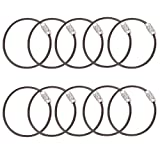 GouGou Keychain Stainless Steel Wire Loops Rings Plastic covered for Hanging Luggage Tag Key (Black 10PCS)