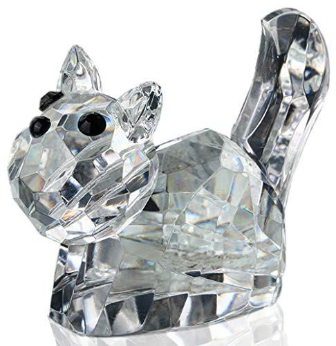 H&D Crystal Cute Handcrafted Cat Figurines Collectible Paperweight Animal Collectible