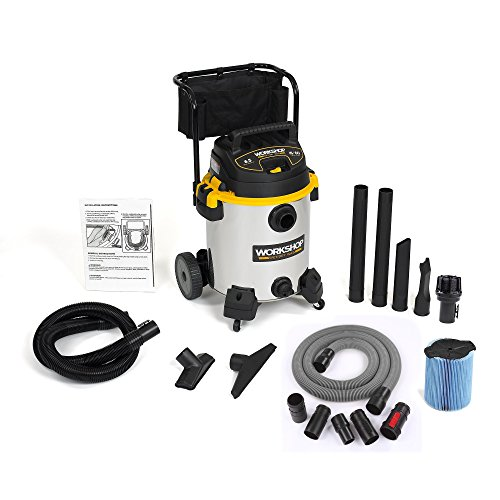WORKSHOP Wet/Dry Vacs WS1600SS Stainless Steel 6.5-Peak Wet Dry Vacuum Cleaner, 16 Gallon w/ attachment and hose