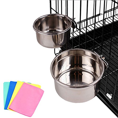 Stainless Steel Cage Coop Cup Bolt Clamp Hanger Bird Cat Dog Puppy Crate Bowl With Towel (Medium)