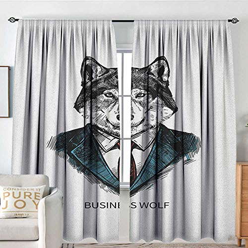 NUOMANAN Home Decoration Thermal Insulated Curtains Wolf,Business Animal in Suit with Jacket Shirt and Tie Sketch Style Hipster Print, Teal Vermilion Black,for Bedroom,Nursery,Living Room 60