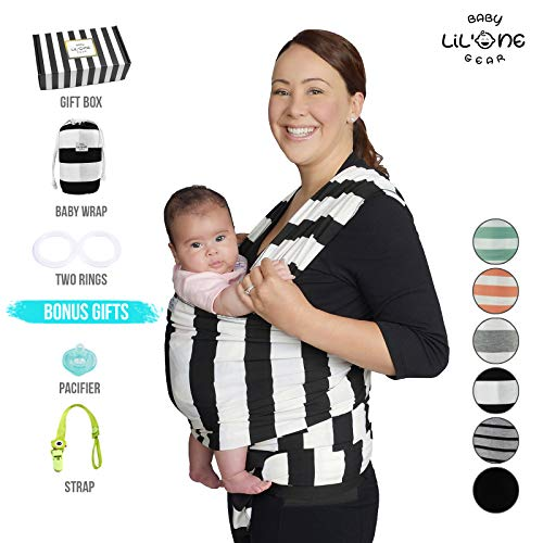 Baby Wrap Carrier, Infant Ring Sling, Newborn 0-35lbs Soft Breathable Lightweight Organic Cotton, Stretchy Adjustable All In 1. Bonus Gift Nursing Cover, Postpartum Belt Perfect Baby Shower Gift Black