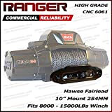 Ranger 10'' (254MM) Mount Aluminum Hawse Fairlead for Synthetic Winch Rope Cable Lead Guide For 8000-15000 LBs Winch Glossy Black
